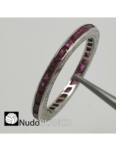 Antique original art deco eternity band with natural rubies circa 1920. It is hand made from platinum 950 tested.