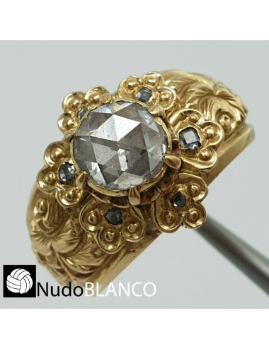 ANTIQUE VICTORIAN RING 22K GOLD ROSE CUT NATURAL DIAMOND 1.0CT REPOUSSE ENGRAVED