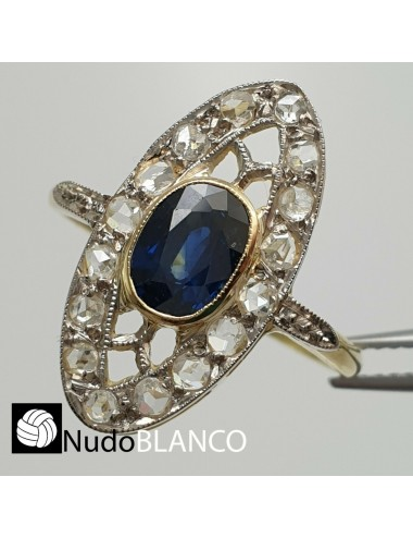 ART DECO LADY RING YELLOW AND WHITE GOLD 18K ROSE CUT DIAMONDS SAPPHIRE