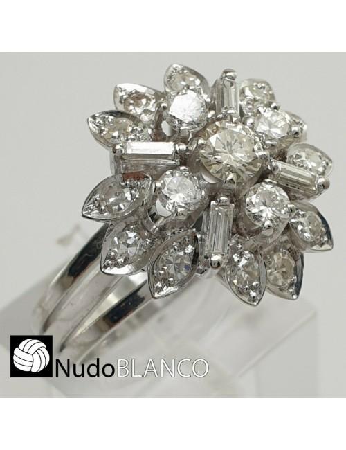 VINTAGE FLORAL ART DECO CLUSTER RING PLATINUM NATURAL DIAMONDS COCKTAL RETRO