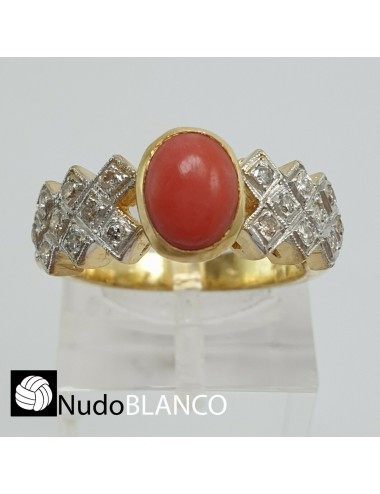 VERY NICE ART DECO STYLE CABUCHON CORAL AND NATURAL DIAMONDS RING GOLD 18K