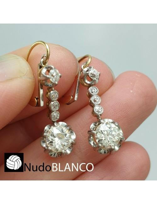 VICTORIAN ART DECO DANGLE DROP EARRING OLD CUT DIAMOND 1.25ct