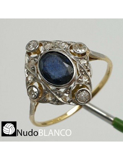 VERY NICE ART DECO RING SAPPHIRE AND OLD CUT DIAMONDS GOLD 18K