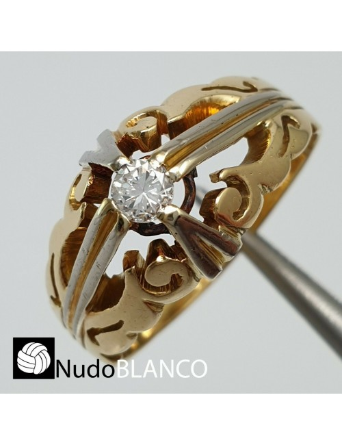 VINTAGE GYPSY RING MENS HEAVY SOLID 18K GOLD 6.5GR ONE STONE DIAMOND RETRO DESIG