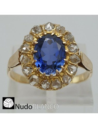 ANTIQUE VICTORIAN CLUSTER FLOWER RING GOLD 18K ROSE CUT EARTH DIAMONDS SAPPHIRE