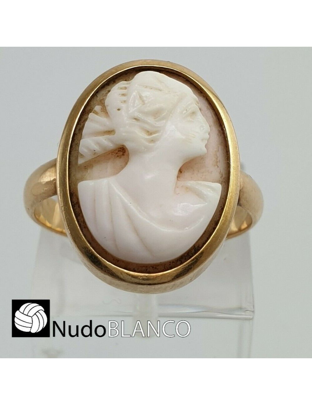 ANTIQUE VICTORIAN LADY CAMEO CARVED CORNELIAN RING ROSE GOLD 14K